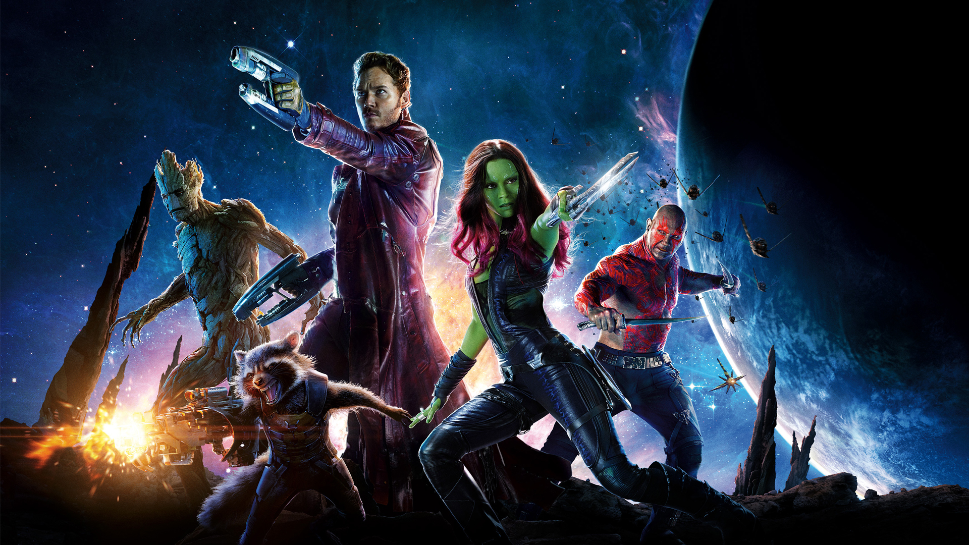 Vin Diesel, Bradley Cooper, Chris Pratt, Zoe Saldana and Dave Bautista star in GUARDIANS OF THE GALAXY (2014). (Marvel Studios)