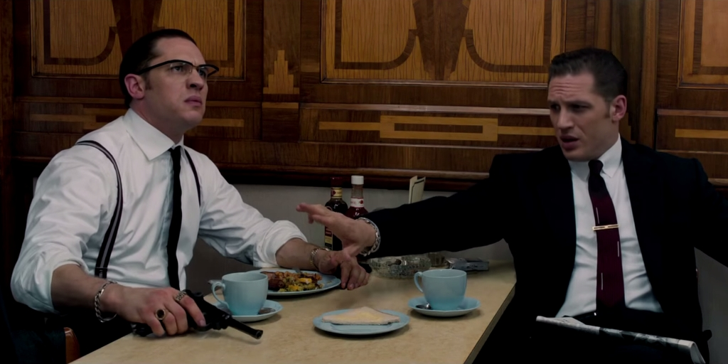 Tom Hardy as Reggie and Ronnie Kray, Legend (2015)