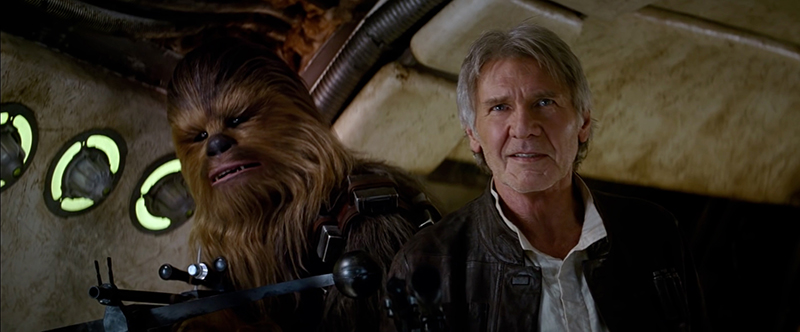 Chewbacca and Han Solo are revealed in the second trailer for Star Wars Episode VII The Force Awakens