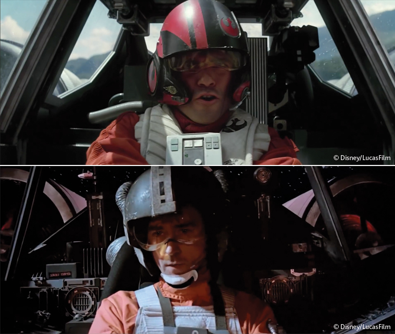 Star Wars shot-for-shot comparison: The Force Awakens, (top), and Return Of The Jedi (bottom).