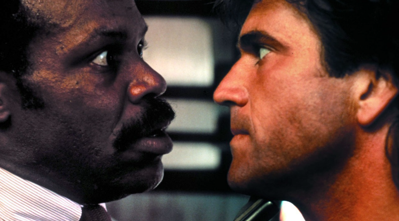 A still from LETHAL WEAPON (1987). Danny Glover and Mel Gibson star. Warner Bros.