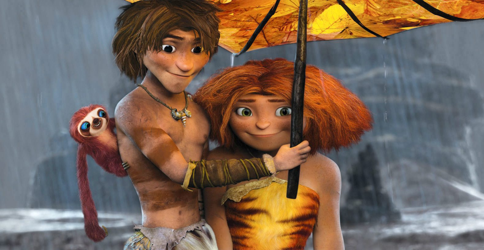 "This film publicity image released by DreamWorks Animation shows, from left: Belt the sloth, voiced by Chris Sanders; Guy, voiced by Ryan Reynolds; and Eep, voiced by Emma Stone, in a scene from ""The Croods."" (AP Photo/DreamWorks Animation) ORG XMIT: NYET209"