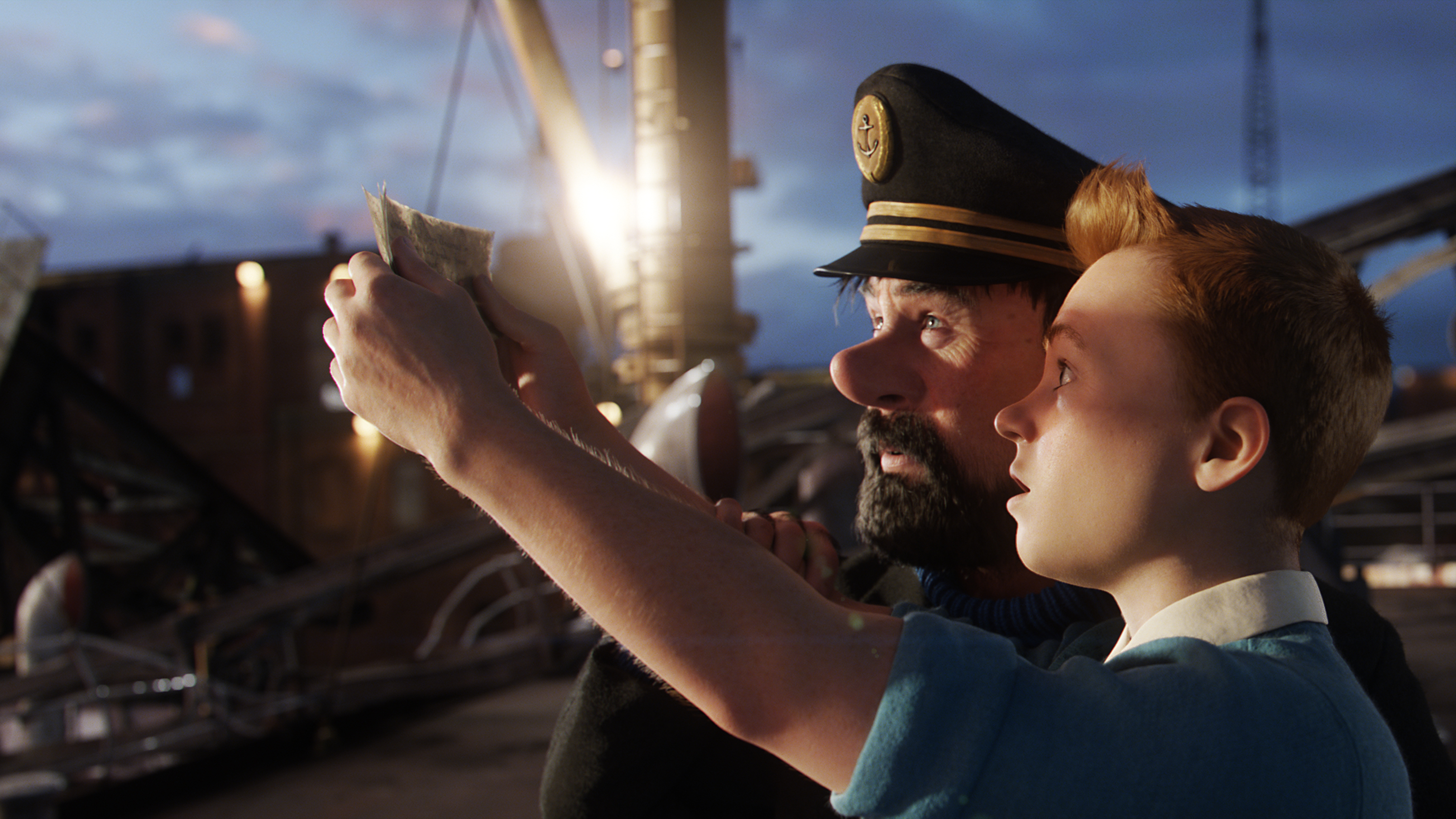 Jamie Bell (Tintin) & Andy Serkis (Captain Haddock) THE ADVENTURES OF TINTIN (2011)