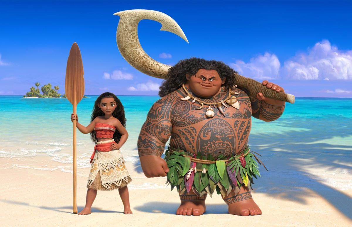 Auli'i Cravalho and Dwayne Johnson and Moana and Maui in Disney's MOANA (2016) © Walt Disney Animation Studios